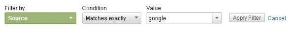 Google経由のユーザークリックを見るフィルター